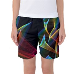 Peacock Symphony, Abstract Rainbow Music Women s Basketball Shorts by DianeClancy