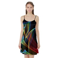 Peacock Symphony, Abstract Rainbow Music Satin Night Slip by DianeClancy