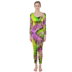 Raspberry Lime Mystical Magical Lake, Abstract  Long Sleeve Catsuit by DianeClancy