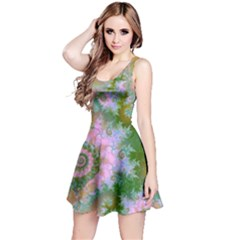 Rose Forest Green, Abstract Swirl Dance Reversible Sleeveless Dress by DianeClancy