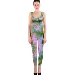 Rose Forest Green, Abstract Swirl Dance Onepiece Catsuit by DianeClancy