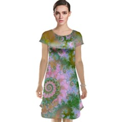 Rose Forest Green, Abstract Swirl Dance Cap Sleeve Nightdress by DianeClancy