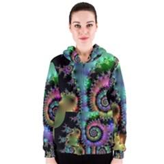 Satin Rainbow, Spiral Curves Through the Cosmos Women s Zipper Hoodie by DianeClancy