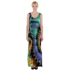 Satin Rainbow, Spiral Curves Through The Cosmos Maxi Thigh Split Dress by DianeClancy