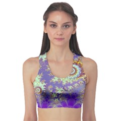 Sea Shell Spiral, Abstract Violet Cyan Stars Sports Bra by DianeClancy