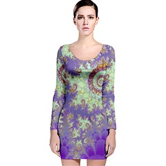 Sea Shell Spiral, Abstract Violet Cyan Stars Long Sleeve Velvet Bodycon Dress by DianeClancy