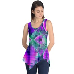 Teal Violet Crystal Palace, Abstract Cosmic Heart Sleeveless Tunic
