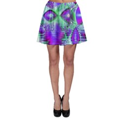 Violet Peacock Feathers, Abstract Crystal Mint Green Skater Skirt by DianeClancy