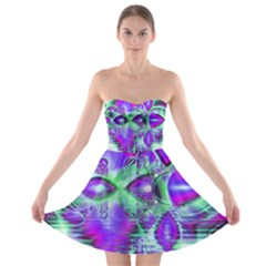 Violet Peacock Feathers, Abstract Crystal Mint Green Strapless Dresses by DianeClancy