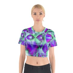 Violet Peacock Feathers, Abstract Crystal Mint Green Cotton Crop Top by DianeClancy
