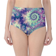 Violet Teal Sea Shells, Abstract Underwater Forest (purple Sea Horse, Abstract Ocean Waves  High Waist Bikini Bottoms