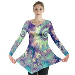 Violet Teal Sea Shells, Abstract Underwater Forest (purple Sea Horse, Abstract Ocean Waves  Long Sleeve Tunic  by DianeClancy