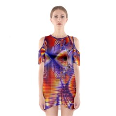 Winter Crystal Palace, Abstract Cosmic Dream (lake 12 15 13) 9900x7400 Smaller Cutout Shoulder Dress