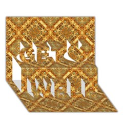 Luxury Check Ornate Pattern Get Well 3d Greeting Card (7x5)  by dflcprints