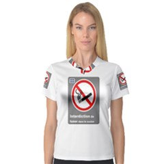 No Smoking  Women s V Neck Sport Mesh Tee