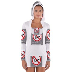 No Smoking  Women s Long Sleeve Hooded T Shirt