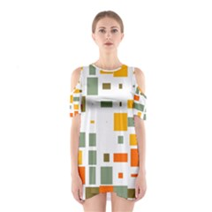 Rectangles And Squares In Retro Colors  Women s Cutout Shoulder Dress by LalyLauraFLM