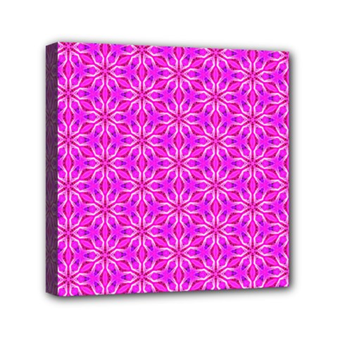 Pink Snowflakes Spinning In Winter Mini Canvas 6  X 6  by DianeClancy