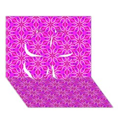 Pink Snowflakes Spinning In Winter Clover 3d Greeting Card (7x5)  by DianeClancy