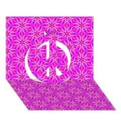 Pink Snowflakes Spinning In Winter Peace Sign 3d Greeting Card (7x5)  by DianeClancy