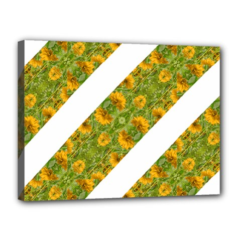 Indian Floral Pattern Stripes Canvas 16  X 12  by dflcprints