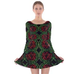 Venus Rotation Long Sleeve Velvet Skater Dress