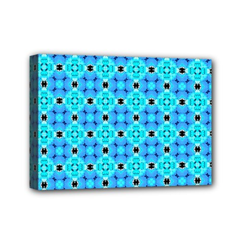 Vibrant Modern Abstract Lattice Aqua Blue Quilt Mini Canvas 7  X 5  by DianeClancy