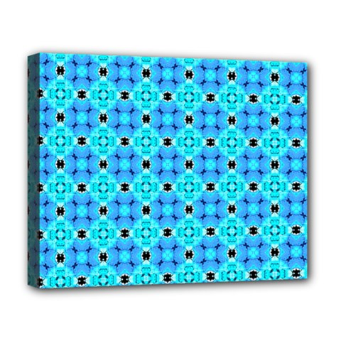 Vibrant Modern Abstract Lattice Aqua Blue Quilt Deluxe Canvas 20  X 16   by DianeClancy