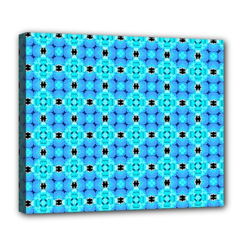 Vibrant Modern Abstract Lattice Aqua Blue Quilt Deluxe Canvas 24  X 20   by DianeClancy