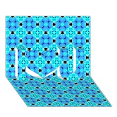 Vibrant Modern Abstract Lattice Aqua Blue Quilt I Love You 3d Greeting Card (7x5)  by DianeClancy
