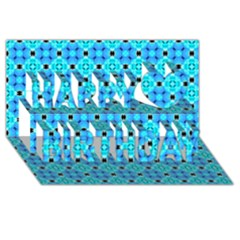 Vibrant Modern Abstract Lattice Aqua Blue Quilt Happy Birthday 3d Greeting Card (8x4)  by DianeClancy