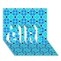 Vibrant Modern Abstract Lattice Aqua Blue Quilt Girl 3d Greeting Card (7x5)  by DianeClancy