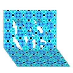 Vibrant Modern Abstract Lattice Aqua Blue Quilt Love 3d Greeting Card (7x5)  by DianeClancy