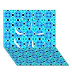 Vibrant Modern Abstract Lattice Aqua Blue Quilt Clover 3d Greeting Card (7x5)  by DianeClancy