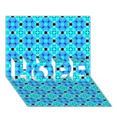 Vibrant Modern Abstract Lattice Aqua Blue Quilt Hope 3d Greeting Card (7x5)  by DianeClancy