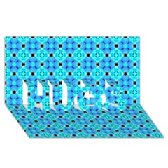 Vibrant Modern Abstract Lattice Aqua Blue Quilt Hugs 3d Greeting Card (8x4)