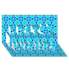 Vibrant Modern Abstract Lattice Aqua Blue Quilt Best Wish 3d Greeting Card (8x4)  by DianeClancy