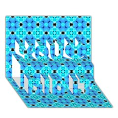 Vibrant Modern Abstract Lattice Aqua Blue Quilt You Did It 3d Greeting Card (7x5) by DianeClancy