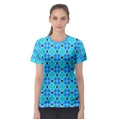 Vibrant Modern Abstract Lattice Aqua Blue Quilt Women s Sport Mesh Tee by DianeClancy