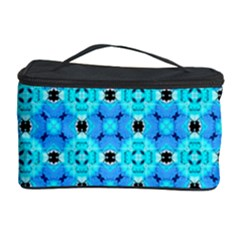 Vibrant Modern Abstract Lattice Aqua Blue Quilt Cosmetic Storage Cases by DianeClancy