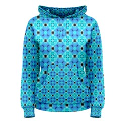 Vibrant Modern Abstract Lattice Aqua Blue Quilt Women s Pullover Hoodie by DianeClancy