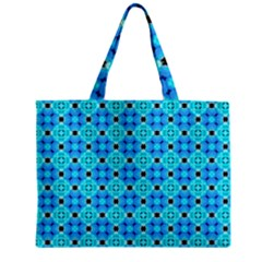 Vibrant Modern Abstract Lattice Aqua Blue Quilt Zipper Mini Tote Bag by DianeClancy