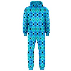Vibrant Modern Abstract Lattice Aqua Blue Quilt Hooded Jumpsuit (men)  by DianeClancy