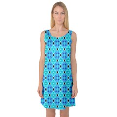 Vibrant Modern Abstract Lattice Aqua Blue Quilt Sleeveless Satin Nightdress by DianeClancy
