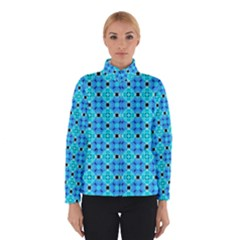 Vibrant Modern Abstract Lattice Aqua Blue Quilt Winterwear by DianeClancy