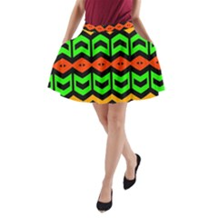 Rhombus And Other Shapes Pattern             A Line Pocket Skirt