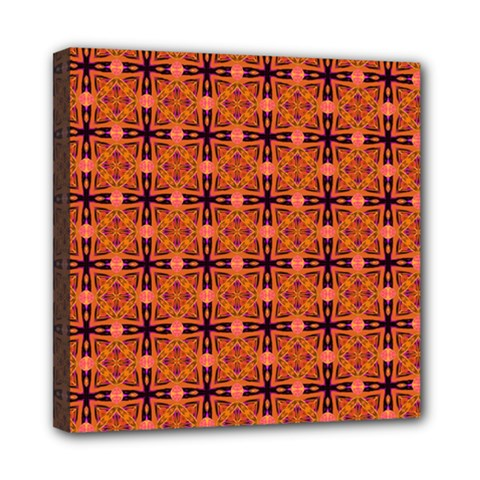 Peach Purple Abstract Moroccan Lattice Quilt Mini Canvas 8  X 8  by DianeClancy