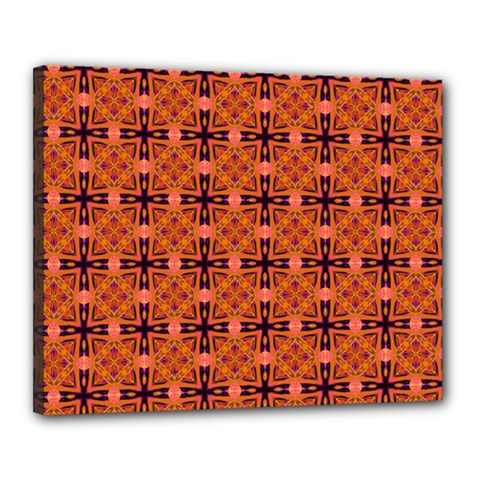 Peach Purple Abstract Moroccan Lattice Quilt Canvas 20  X 16  by DianeClancy