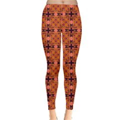 Peach Purple Abstract Moroccan Lattice Quilt Leggings  by DianeClancy