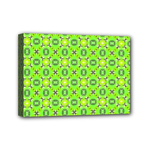 Vibrant Abstract Tropical Lime Foliage Lattice Mini Canvas 7  X 5  by DianeClancy